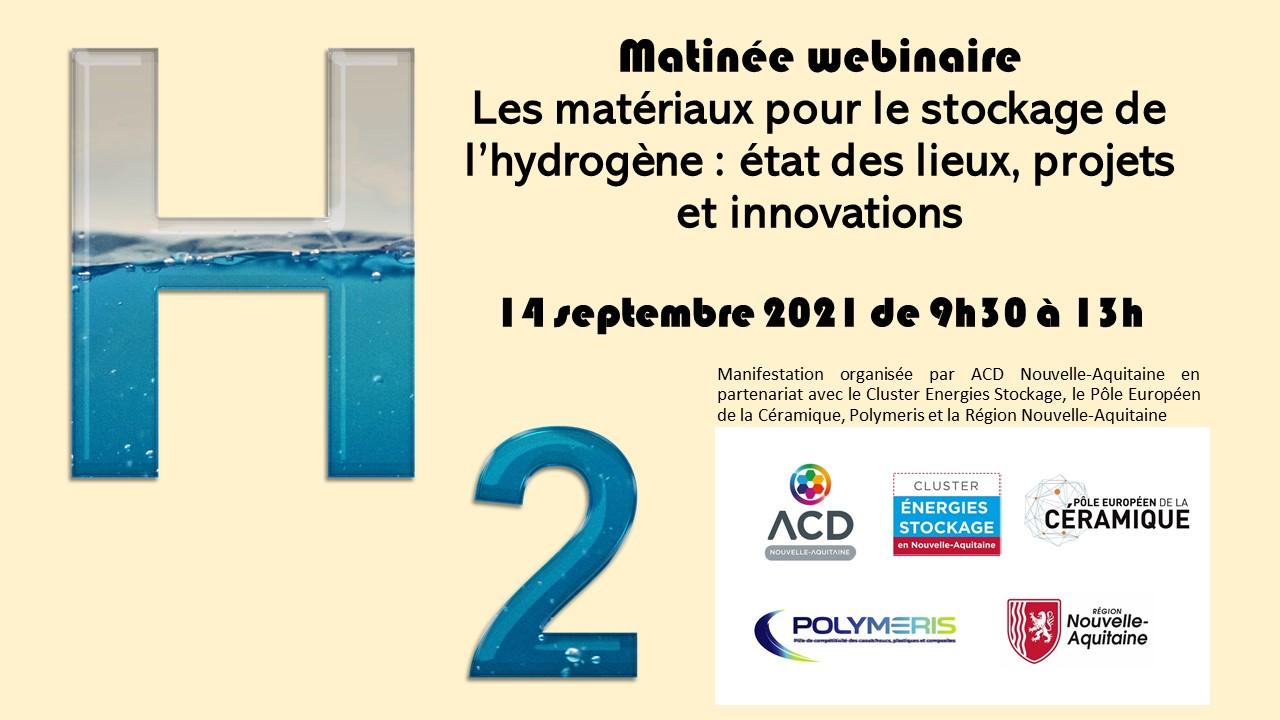14.09.2021 - webinaire - Matériaux pour le stockage de l'hydrogène : état des lieux, projets et innovations